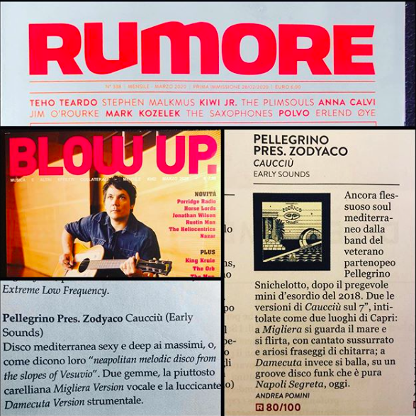 Caucciù single on Rumore and Blow Up mag. 1